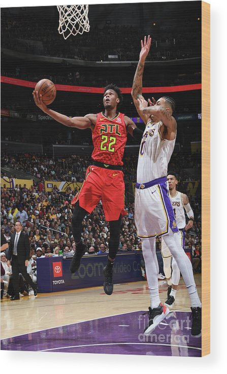 Nba Pro Basketball Wood Print featuring the photograph Atlanta Hawks V Los Angeles Lakers by Andrew D. Bernstein