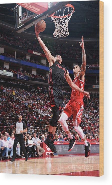 Nba Pro Basketball Wood Print featuring the photograph Portland Trail Blazers V Houston Rockets by Bill Baptist