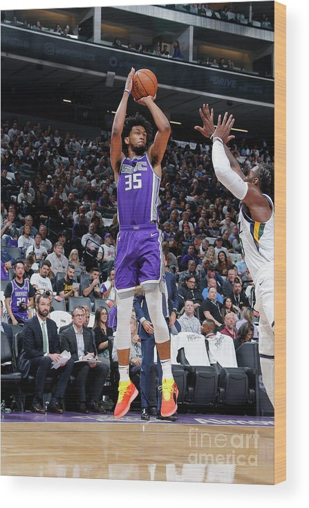 Nba Pro Basketball Wood Print featuring the photograph Utah Jazz V Sacramento Kings by Rocky Widner