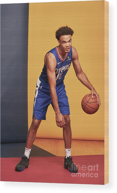 Jerome Robinson Wood Print featuring the photograph 2018 Nba Rookie Photo Shoot by Jennifer Pottheiser