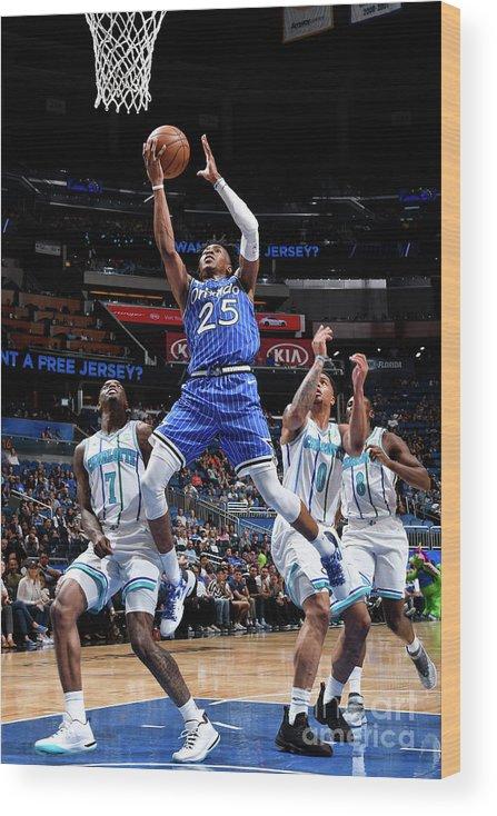 Nba Pro Basketball Wood Print featuring the photograph Charlotte Hornets V Orlando Magic by Fernando Medina
