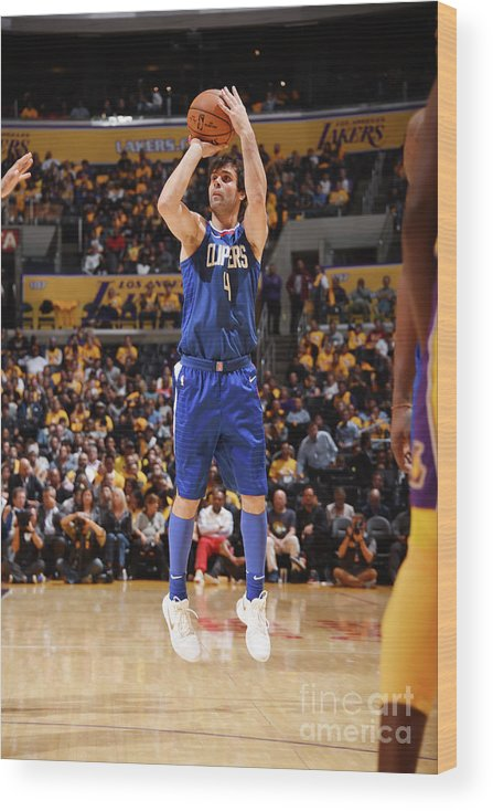 Nba Pro Basketball Wood Print featuring the photograph La Clippers V Los Angeles Lakers by Andrew D. Bernstein