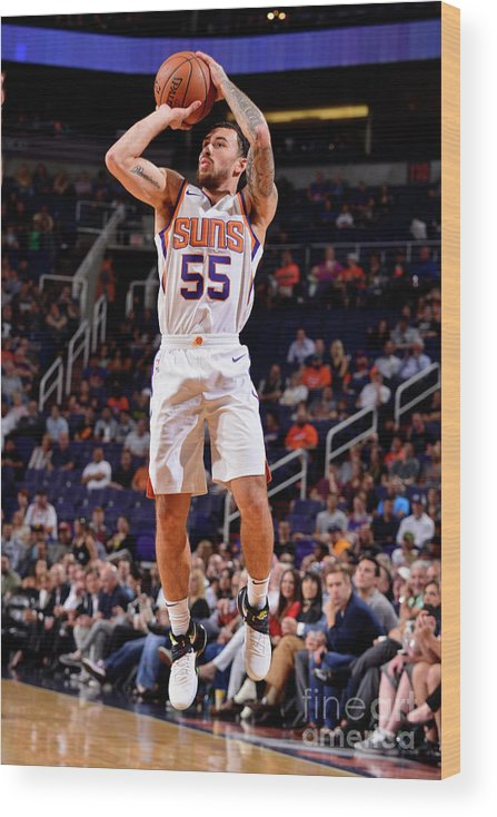 Nba Pro Basketball Wood Print featuring the photograph Sacramento Kings V Phoenix Suns by Barry Gossage