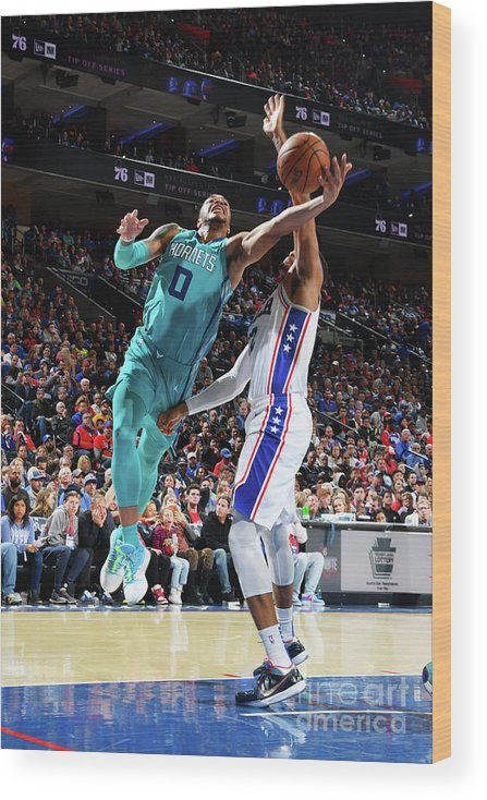 Nba Pro Basketball Wood Print featuring the photograph Charlotte Hornets V Philadelphia 76ers by Jesse D. Garrabrant