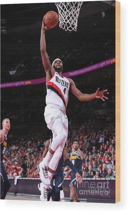 Moe Harkless Wood Print featuring the photograph Denver Nuggets V Portland Trail Blazers by Sam Forencich