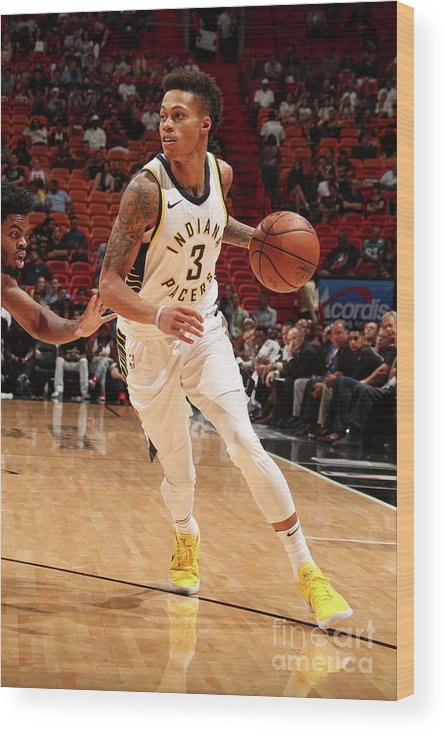 Nba Pro Basketball Wood Print featuring the photograph Indiana Pacers V Miami Heat by Issac Baldizon
