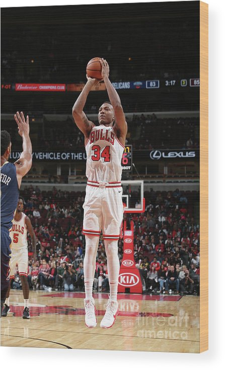 Nba Pro Basketball Wood Print featuring the photograph New Orleans Pelicans V Chicago Bulls by Gary Dineen