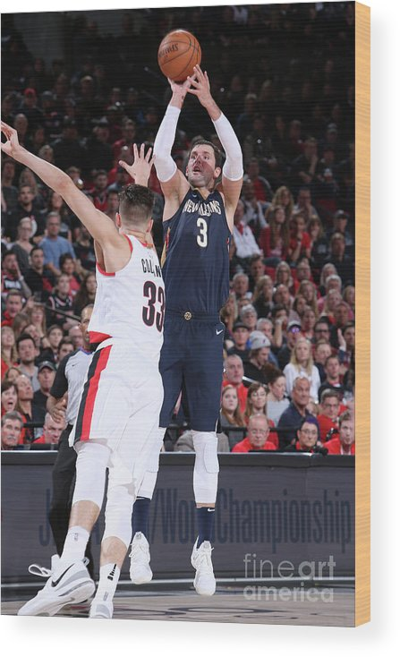 Playoffs Wood Print featuring the photograph New Orleans Pelicans V Portland Trail by Sam Forencich
