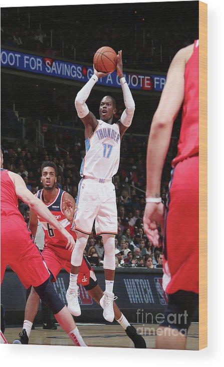 Nba Pro Basketball Wood Print featuring the photograph Oklahoma City Thunder V Washington by Ned Dishman