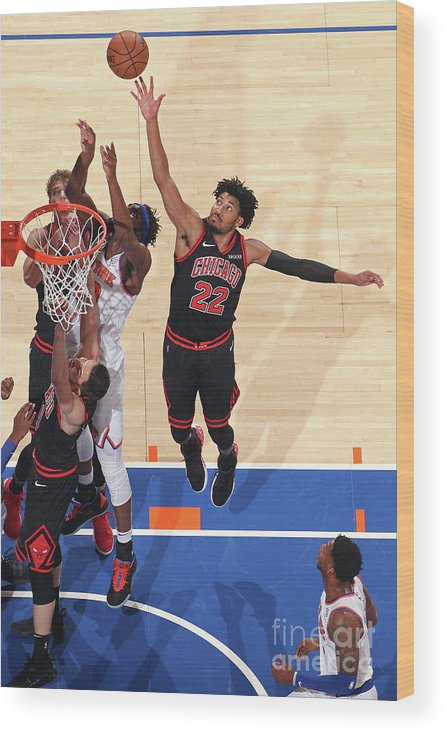 Chicago Bulls Wood Print featuring the photograph Chicago Bulls V New York Knicks by Nathaniel S. Butler