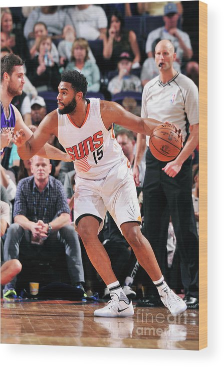 Nba Pro Basketball Wood Print featuring the photograph Sacramento Kings V Phoenix Suns by Barry Gossage