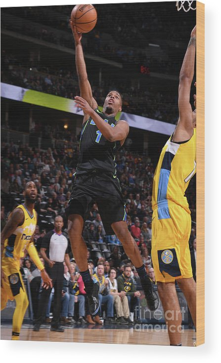 Nba Pro Basketball Wood Print featuring the photograph Dallas Mavericks V Denver Nuggets by Garrett Ellwood