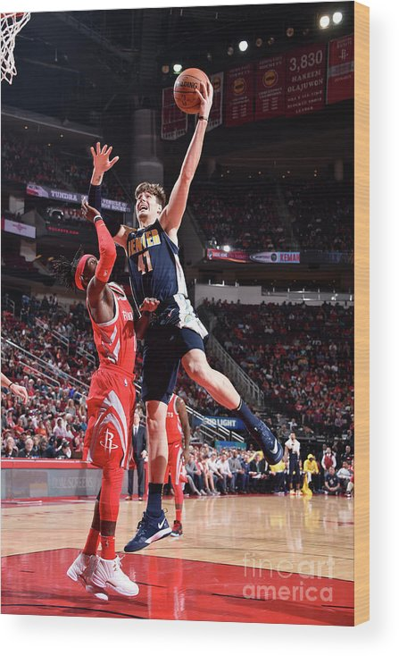Nba Pro Basketball Wood Print featuring the photograph Denver Nuggets V Houston Rockets by Bill Baptist