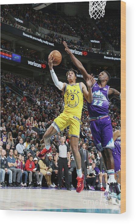 Nba Pro Basketball Wood Print featuring the photograph Golden State Warriors V Utah Jazz by Melissa Majchrzak