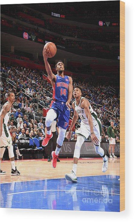 Playoffs Wood Print featuring the photograph Milwaukee Bucks V Detroit Pistons - by Chris Schwegler