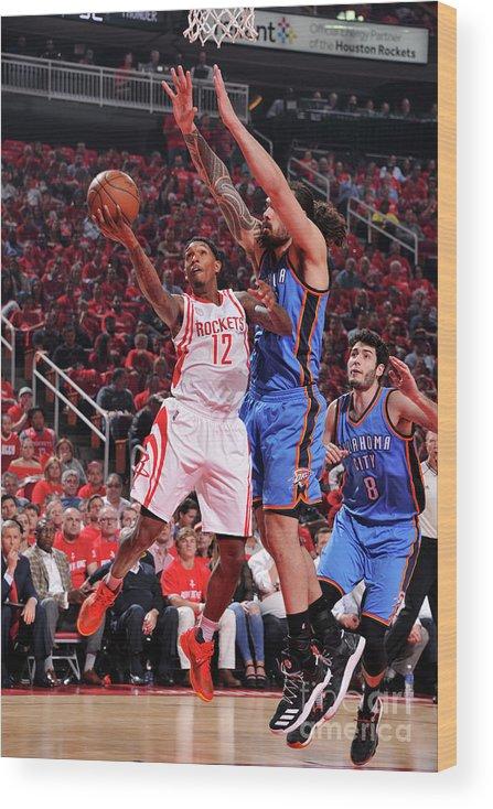 Playoffs Wood Print featuring the photograph Oklahoma City Thunder V Houston Rockets by Bill Baptist