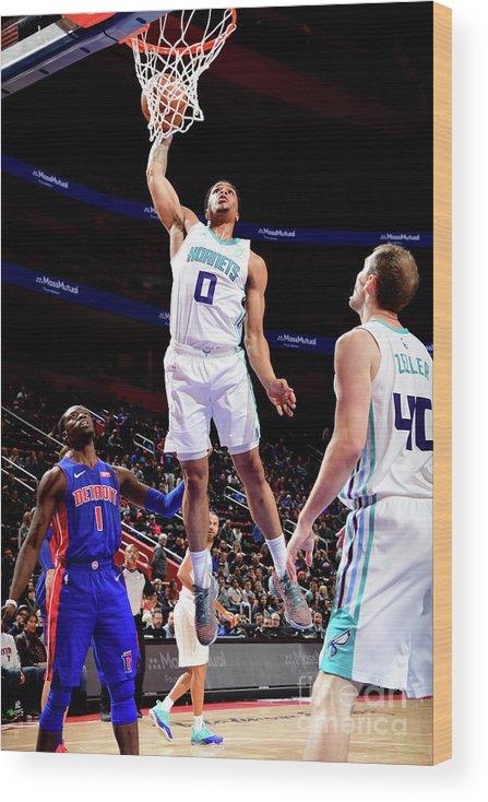 Nba Pro Basketball Wood Print featuring the photograph Charlotte Hornets V Detroit Pistons by Chris Schwegler