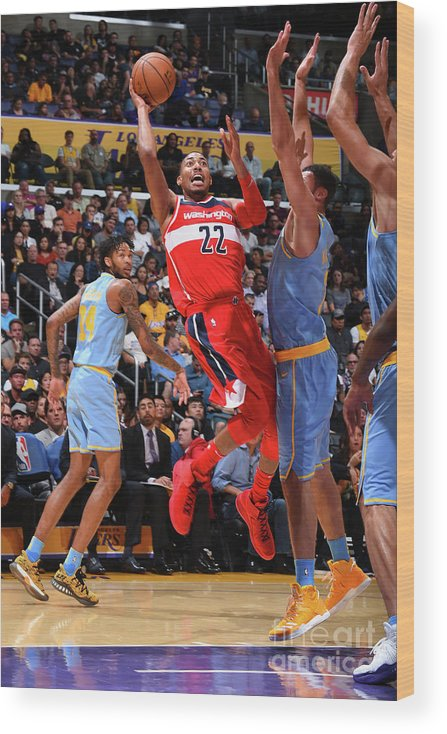 Nba Pro Basketball Wood Print featuring the photograph Washington Wizards V Los Angeles Lakers by Andrew D. Bernstein