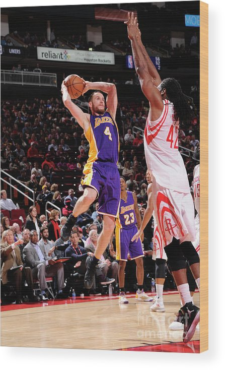 Nba Pro Basketball Wood Print featuring the photograph Los Angeles Lakers V Houston Rockets by Bill Baptist