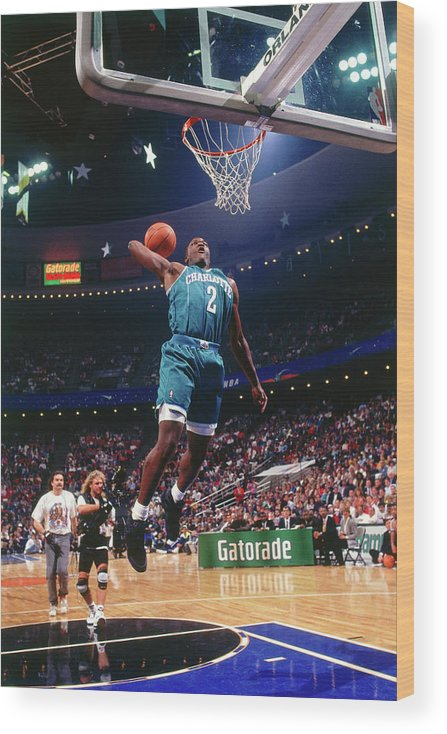 Nba Pro Basketball Wood Print featuring the photograph 1992 Slam Dunk Contest Larry Johnson by Andrew D. Bernstein