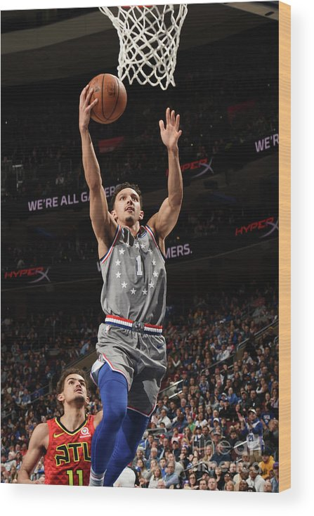 Nba Pro Basketball Wood Print featuring the photograph Atlanta Hawks V Philadelphia 76ers by David Dow
