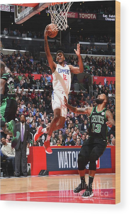 Nba Pro Basketball Wood Print featuring the photograph Boston Celtics V La Clippers by Andrew D. Bernstein