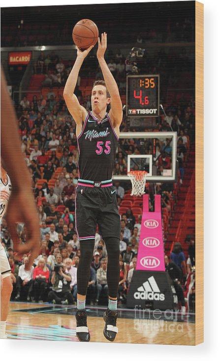 Nba Pro Basketball Wood Print featuring the photograph Brooklyn Nets V Miami Heat by Oscar Baldizon