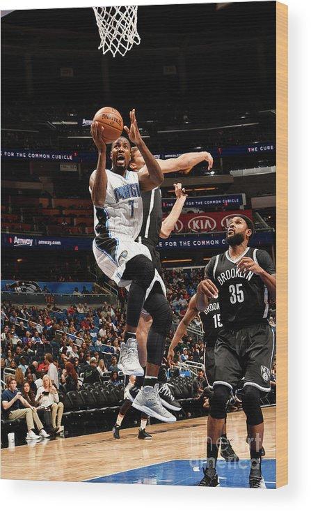 Nba Pro Basketball Wood Print featuring the photograph Brooklyn Nets V Orlando Magic by Fernando Medina