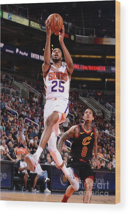 Nba Pro Basketball Wood Print featuring the photograph Cleveland Cavaliers V Phoenix Suns by Barry Gossage