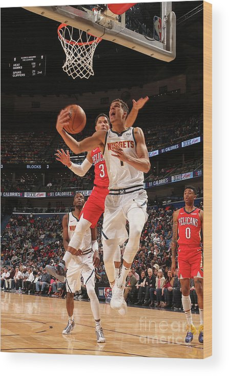 Smoothie King Center Wood Print featuring the photograph Denver Nuggets V New Orleans Pelicans by Layne Murdoch Jr.