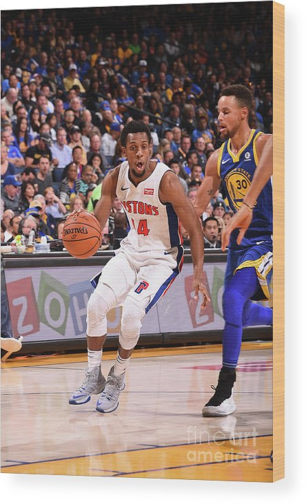 Nba Pro Basketball Wood Print featuring the photograph Detroit Pistons V Golden State Warriors by Noah Graham