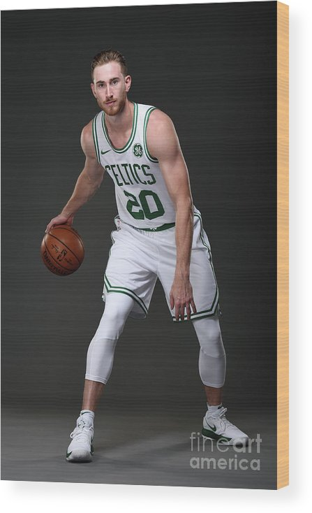 Nba Pro Basketball Wood Print featuring the photograph Gordon Hayward Boston Celtics Portraits by Brian Babineau