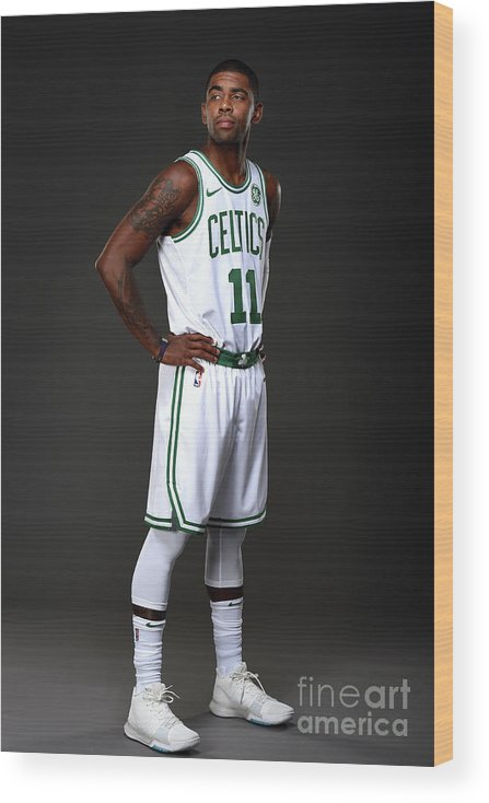 Nba Pro Basketball Wood Print featuring the photograph Kyrie Irving Boston Celtics Portraits by Brian Babineau