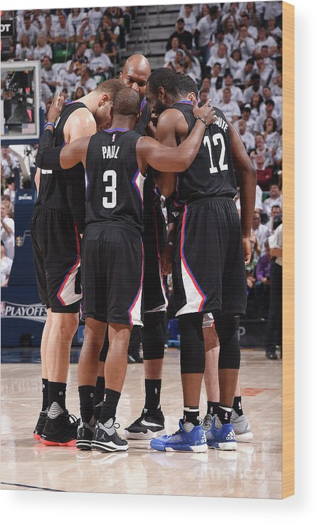 Playoffs Wood Print featuring the photograph Los Angeles Clippers V Utah Jazz - Game by Andrew D. Bernstein