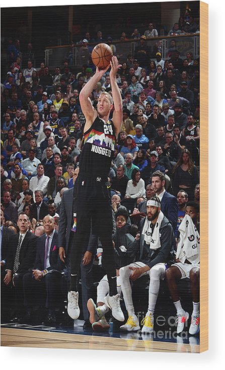 Nba Pro Basketball Wood Print featuring the photograph Los Angeles Lakers V Denver Nuggets by Bart Young