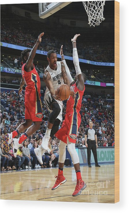 Smoothie King Center Wood Print featuring the photograph Memphis Grizzlies V New Orleans Pelicans by Layne Murdoch Jr.