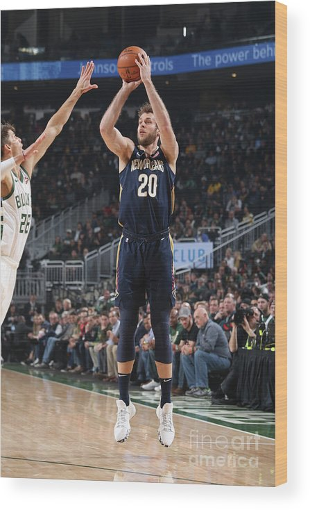 Nba Pro Basketball Wood Print featuring the photograph New Orleans Pelicans V Milwaukee Bucks by Gary Dineen