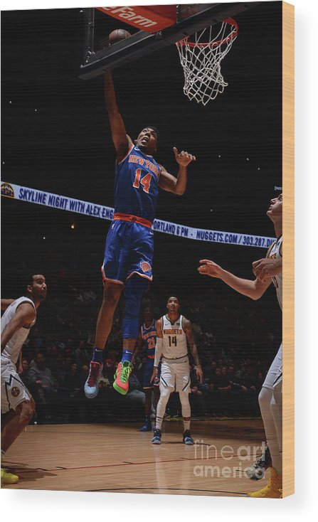 Nba Pro Basketball Wood Print featuring the photograph New York Knicks V Denver Nuggets by Bart Young