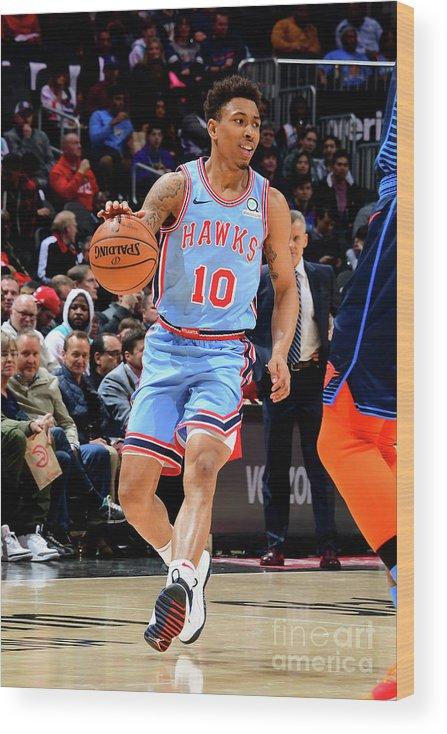 Atlanta Wood Print featuring the photograph Oklahoma City Thunder V Atlanta Hawks by Scott Cunningham