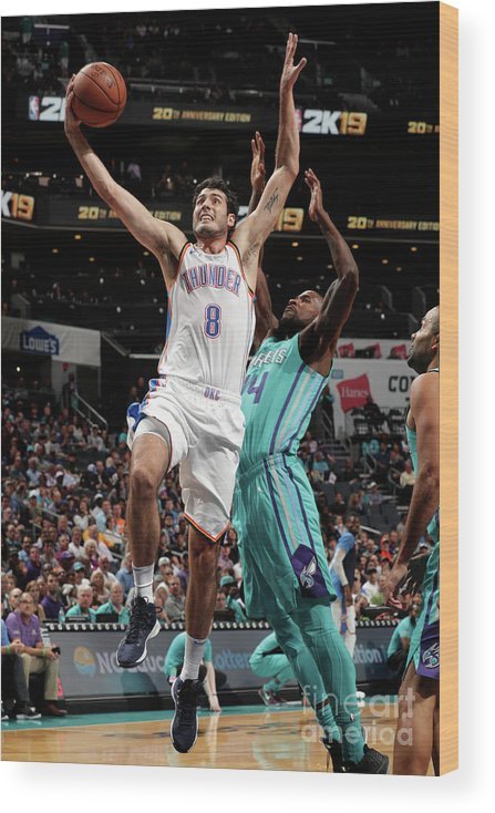 Nba Pro Basketball Wood Print featuring the photograph Oklahoma City Thunder V Charlotte by Kent Smith