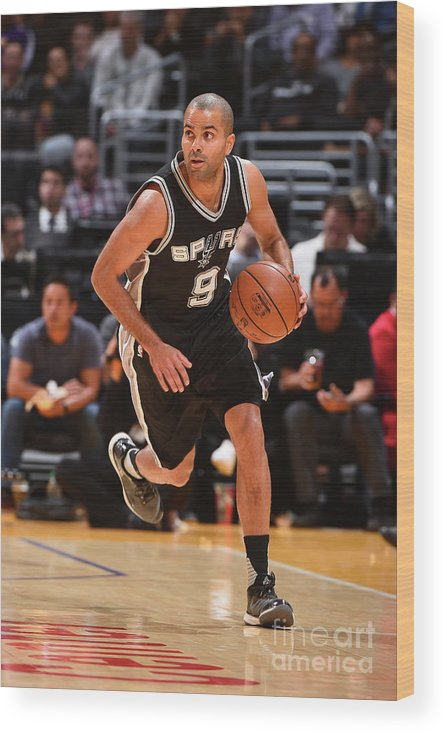 Sport Wood Print featuring the photograph San Antonio Spurs V Los Angeles Lakers by Andrew D. Bernstein