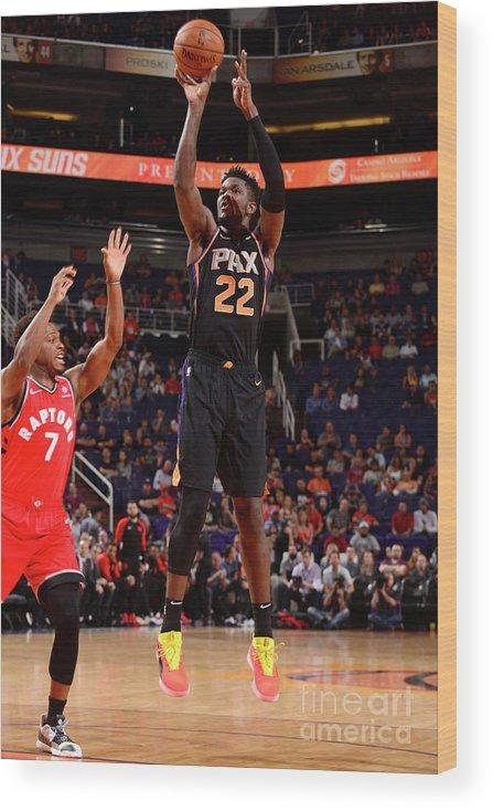 Nba Pro Basketball Wood Print featuring the photograph Toronto Raptors V Phoenix Suns by Barry Gossage