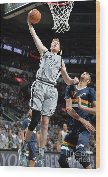 Nba Pro Basketball Wood Print featuring the photograph Utah Jazz V San Antonio Spurs by Mark Sobhani