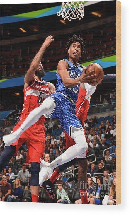 Nba Pro Basketball Wood Print featuring the photograph Washington Wizards V Orlando Magic by Gary Bassing