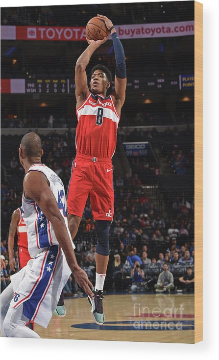 Nba Pro Basketball Wood Print featuring the photograph Washington Wizards V Philadelphia 76ers by David Dow