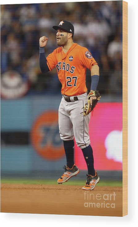Second Inning Wood Print featuring the photograph World Series - Houston Astros V Los by Ezra Shaw