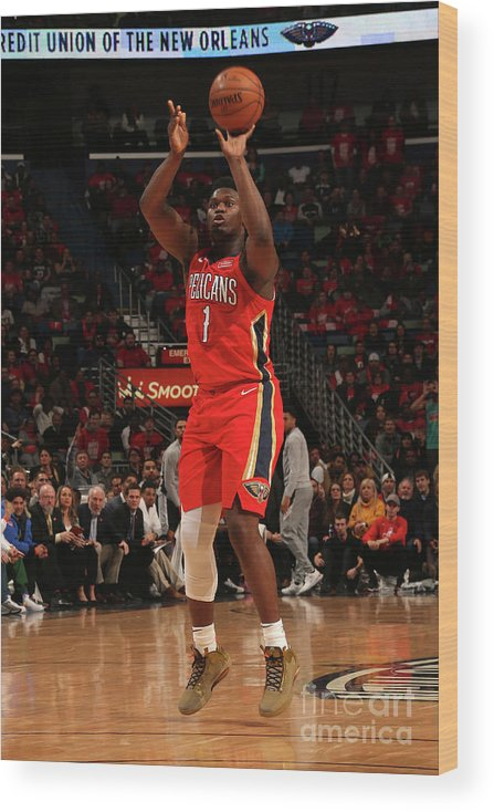 Smoothie King Center Wood Print featuring the photograph Zion Williamson by Layne Murdoch Jr.