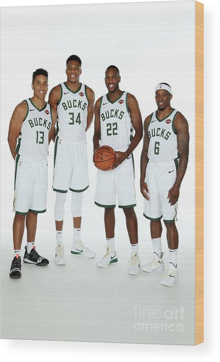 Media Day Wood Print featuring the photograph 2018 Milwaukee Bucks Media Day by Gary Dineen