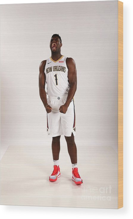 Media Day Wood Print featuring the photograph 2019-20 New Orleans Pelicans Media Day by Layne Murdoch Jr.