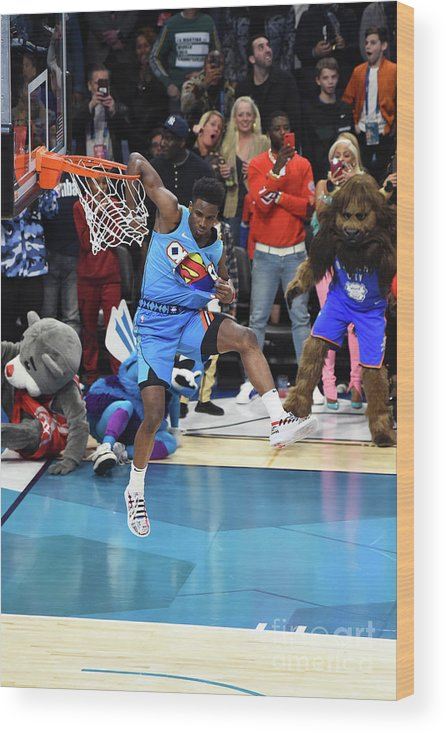 Nba Pro Basketball Wood Print featuring the photograph 2019 At&t Slam Dunk Contest by Juan Ocampo